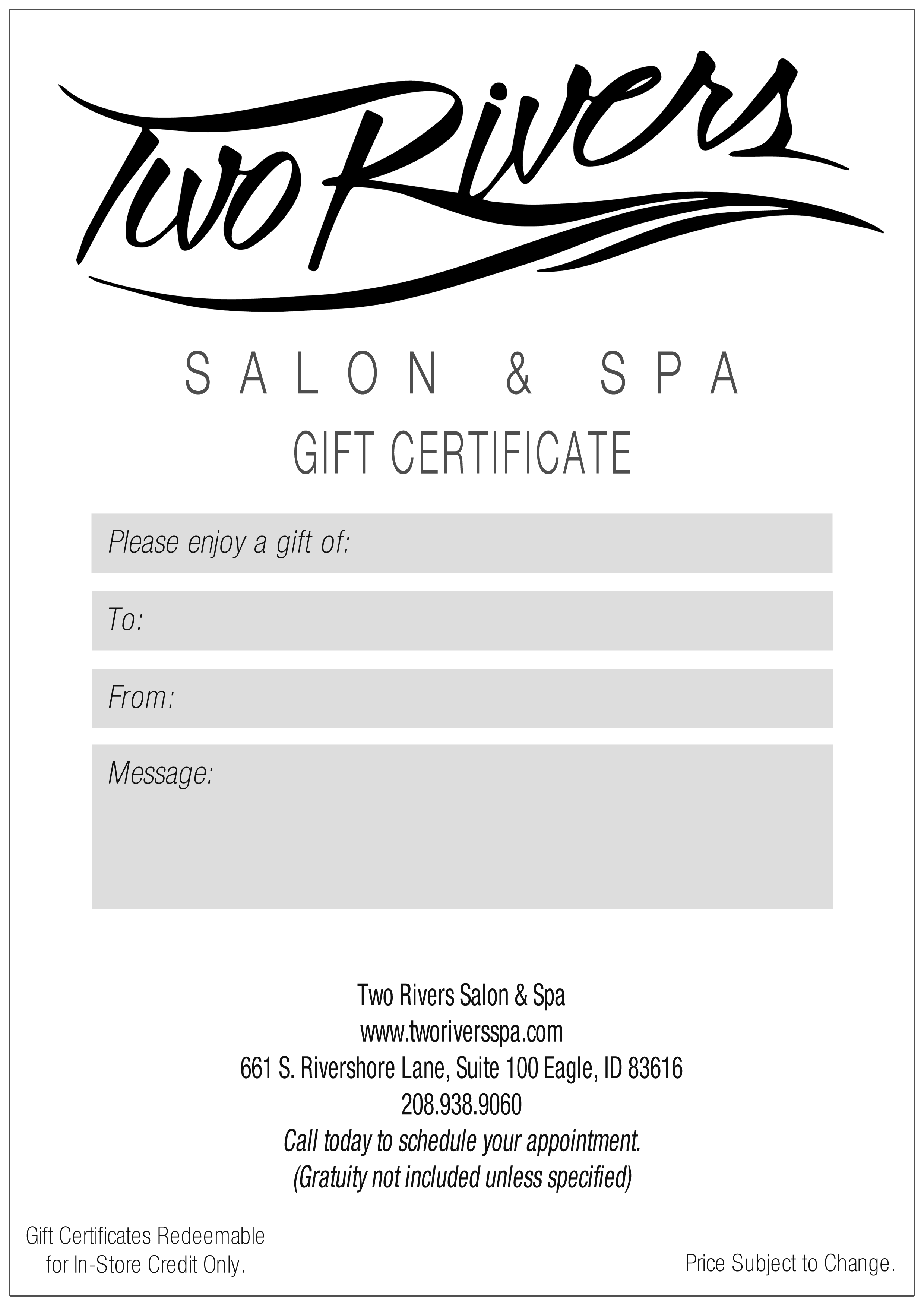 General Gift Certificate Two Rivers Spa Salon